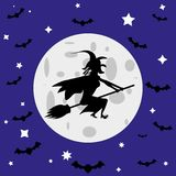 Czarownica i nietoperze przeciw księżyc w pełni royalty ilustracja