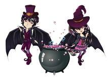 Czarownica i wampir royalty ilustracja