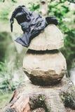 Czarownica kapelusz na drewnianej pieczarce Obraz Stock
