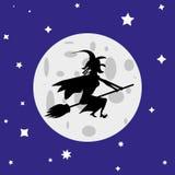Czarownica lata na broomstick przeciw księżyc w pełni royalty ilustracja