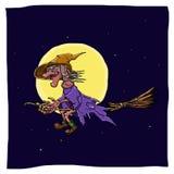 Czarownica na broomstick Zdjęcia Royalty Free
