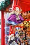 Czarownica oblicza obwieszenie przy kramem przy Ryskim boże narodzenie rynkiem Zdjęcie Stock