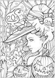 Czarownica otaczająca życzliwymi duchami ilustracja wektor