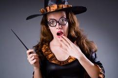 Czarownica robi jej brudnym sztuczkom Zdjęcia Royalty Free