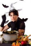 Czarownica robi magii na Halloween Zdjęcia Royalty Free