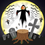 Czarownica w blasku księżyca ilustracja wektor