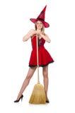 Czarownica w czerwieni sukni Zdjęcia Stock