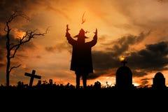 Czarownica w Halloween nocy Obraz Stock