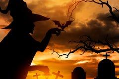 Czarownica w Halloween nocy Zdjęcia Stock