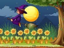 Czarownica w ogródzie ilustracja wektor