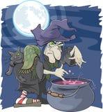 Czarownica z kotłem Zdjęcie Stock