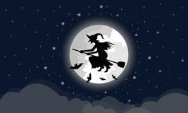 Czarownicy jadą miotłę przez dużej księżyc chmury są below W nocy z gwiazdą błękitni Halloweenowi wakacje pełno ilustracji