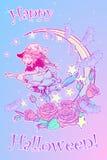 Czarownicy latanie na miotły goth dekoracyjnym pastelowym tle royalty ilustracja