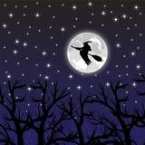 Czarownicy latanie na miotle na księżyc w pełni Zdjęcia Royalty Free