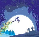 Czarownicy latanie na miotle w blasku księżyca ilustracji