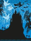 Czarownicy latanie na miotle w blasku księżyca ilustracja wektor