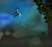 Czarownicy latanie na miotle w blasku księżyca royalty ilustracja