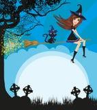 Czarownicy latanie na miotle w blasku księżyca - rama ilustracji