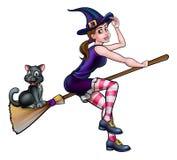 Czarownicy postać z kreskówki latanie Na Broomstick Zdjęcie Royalty Free