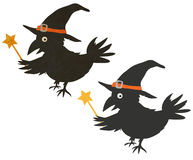 Czarownik halloweenowa Wrona Zdjęcia Stock