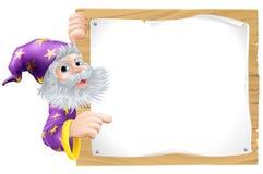 Czarownik i drewniany znak ilustracji