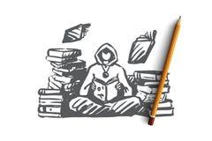 Czarownik, magia, biblioteka, czary, książkowy pojęcie Ręka rysujący odosobniony wektor ilustracja wektor
