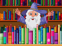 Czarownik wśrodku biblioteki ilustracja wektor