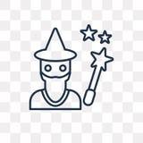 Czarownik wektorowa ikona odizolowywająca na przejrzystym tle, liniowi Wi ilustracji