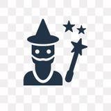 Czarownik wektorowa ikona odizolowywająca na przejrzystym tle, czarownik t ilustracji