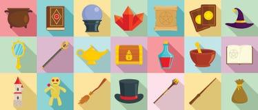 Czarownik wytłacza wzory ikony ustawiać, mieszkanie styl royalty ilustracja
