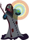 Czarownik z kryształową kulą ilustracja wektor