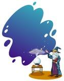 Czarownik z książką przed kryształową kulą ilustracji