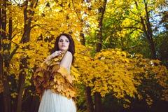 Czarowny model Jest ubranym jesień liścia chustę zdjęcia stock