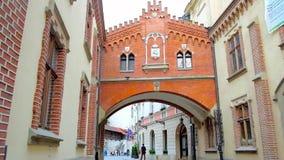 Czartoryski Palace pass, Krakow, Poland stock video