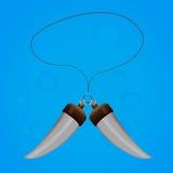 Czary amuletu dwa zęby z linową magią royalty ilustracja