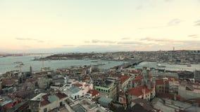Czasów podołków świt od Galatian wierza Ranku widok Bosphorus od Galata wierza zdjęcie wideo