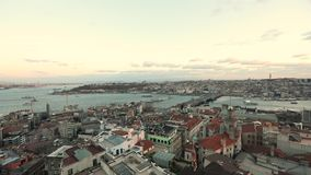 Czasów podołków świt od Galatian wierza Ranku widok Bosphorus od Galata wierza zbiory