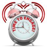 Czas angażować! Budzik z inskrypcją Zdjęcie Royalty Free