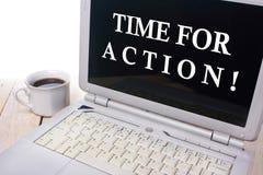 Czas Dla akci, Motywacyjny słowo wycena pojęcie fotografia stock