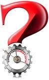 Czas dla pytań - znak zapytania Kruszcowa przekładnia Obraz Stock