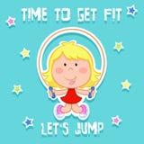 Czas dostawać napad linowy doskakiwanie - śliczna mała dziewczynka i sporty - Obraz Royalty Free