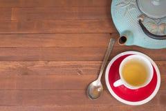 Czas Herbaciana przerwa na stołowym odgórnym widoku Fotografia Royalty Free