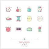 Czas i zegaru koloru ikony ustawiać Cienkie kreskowej sztuki ikony Obraz Royalty Free