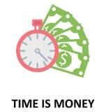 Czas jest pieniądze Odizolowywającym koloru Wektorowym Ilustracyjnym ikoną ilustracji
