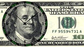Czas jest pieniądze 100 dolarów zegar Obrazy Stock
