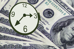 Czas jest pieniądze dolary zegarków Obrazy Stock