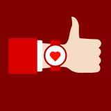Czas kochać śpiewa black tła pojedynczy kciuk, Ręka z zegarem Płaska wektorowa ikona Zdjęcie Royalty Free