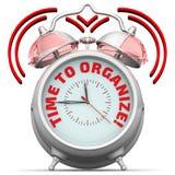 Czas organizować! Budzik z inskrypcją Obrazy Stock