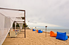 czas plażowy obiadowy romantyczny ustalony zmierzch ustalony Obrazy Royalty Free