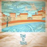 Czas podróżować abstrakcjonistyczną rysunkową kartę Zdjęcie Stock